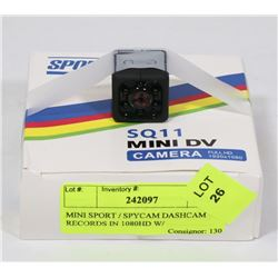 MINI SPORT / SPYCAM DASHCAM RECORDS IN 1080HD W/