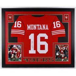 Joe Montana Signed 49ers 35x43 Custom Framed Jersey (JSA COA)