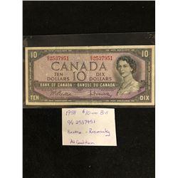 1954 CANADA 10.00 BILL AV CONDITION