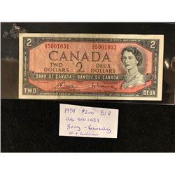 1954 CANADA 2,00 BILL AV CONDITION