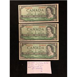 LOT OF 3 SEQUENTIAL CANADA 1,00 BILLS 1954