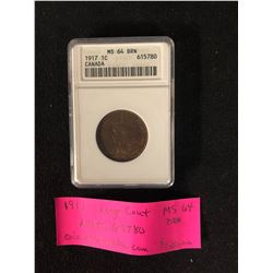 1917 LARGE CENT GRADED MS64