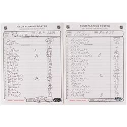 Lot of (2) Signed NHL Club Playing Rosters with Wayne Gretzky & Mike Babcock (NHL COA)