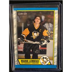 Autographed 1989-1990 Topps #1 Mario Lemieux Hockey Card