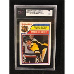 1985-86 O-Pee-Chee #262 Mario Lemieux Rookie Scoring Leader Hockey Card (7NM) KSA GRADED