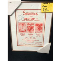 """NEELY/ BUCYK/ RONNING SIGNED SPORTSTAR PROMOTION CARD COLLECTOR CONVENTION FRAMED POSTER (12"""" X 14"""")"""