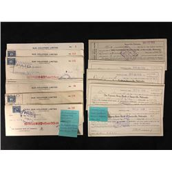 VINTAGE USED BANK CHEQUES LOT (1945-47 VANCOUVER SUN/ 1910-1913 FARMERS STATE)