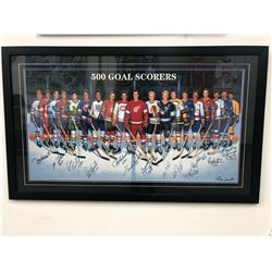 CUSTOM FRAMED 500 GOAL SCORERS 26 X 42 PRINT SIGNED BY SIGNED BY 13 ( LEGENDS COA) AND PHOTOS
