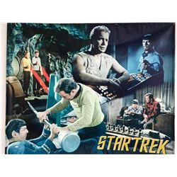 DUAL SIGNED WILLIAM SHATNER AND LEONARD NEMOY  STAR TREK BANNER  ( JSA COA)