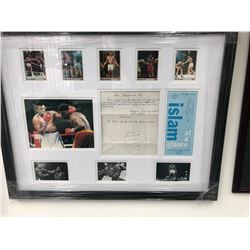 DUAL SIGNED MUHAMMAD ALI 20 X 24 COLLAGE WITH INSCRIPTION AND SKETCH ( JSA LOA)