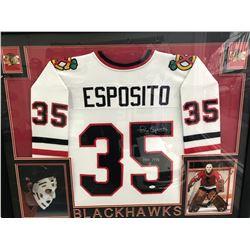 CUSTOM FRAMED 26 X 35 TONY ESPOSITO SIGNED BLACKHAWKS JERSEY (JSA COA)