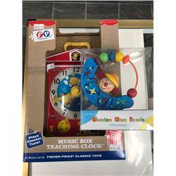 CHILDREN'S TOY LOT (MUSIC BOX TEACHING CLOCK/ WOODEN WISE BEADS)
