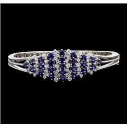 5.44 ctw Sapphire and Diamond Bangle Bracelet - 14KT White Gold