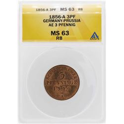 1856 Germany-Prussia AE 3 Pfennig Copper Coin ANACS MS63RB