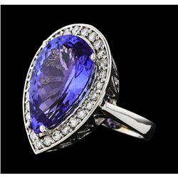 GIA Cert 11.93 ctw Tanzanite and Diamond Ring - 14KT White Gold