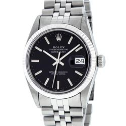 Rolex Mens Stainless Steel Black Index 36mm Datejust Wristwatch