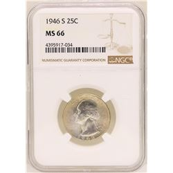 1946-S Washington Quarter Coin NGC MS66
