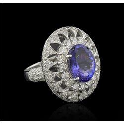 6.24 ctw Tanzanite and Diamond Ring - 14KT White Gold