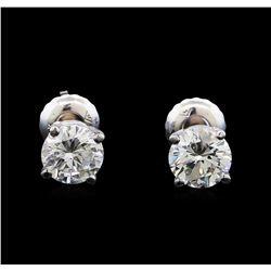 1.10 ctw Diamond Stud Earrings - 14KT White Gold