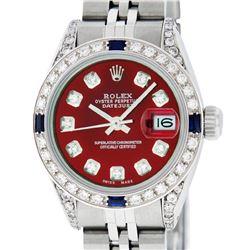 Rolex Ladies Stainless Steel Diamond Lugs & Sapphire Datejust Wristwatch