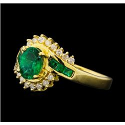 1.00 ctw Emerald and Diamond Ring - 14KT Yellow Gold