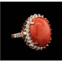 14KT Rose Gold 11.16 ctw Pink Coral and Diamond Ring