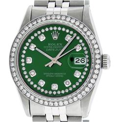 Rolex Mens Stainless Steel Green String Diamond 36MM Datejust Wristwatch