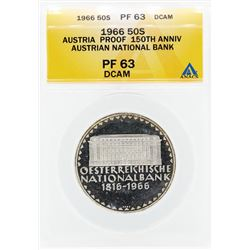 1966 Austria Proof 50 Shilling Silver Coin ANACS PF63 DCAM