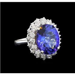 GIA Cert 10.03 ctw Tanzanite and Diamond Ring - 14KT White Gold