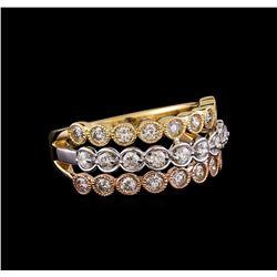 1.05 ctw Diamond Ring - 14KT Tri Color Gold