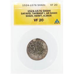1524-1576 Shahi Safavid Tahmasp I AR Shahi Herat Coin ANACS VF20
