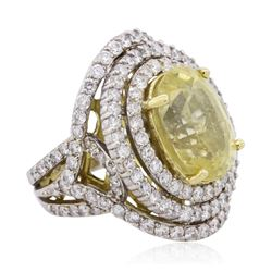 12.47 ctw Yellow Sapphire and Diamond Ring - 18KT Two-Tone Gold GIA Certified