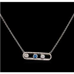 0.64 ctw Blue Diamond Necklace - 14KT White Gold