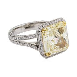 10.02 ctw Fancy Intense Yellow Diamond and White Diamond Ring - Platinum