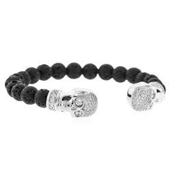 Cozmo Sterling Silver Cubic Zirconia Skull Cuff Bracelet