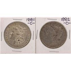 Lot of 1881-O & 1882-O $1 Morgan Silver Dollar Coins