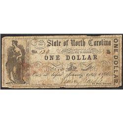 1866 $1 State of North Carolina Obsolete Note