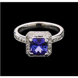 1.75 ctw Tanzanite and Diamond Ring - 14KT White Gold