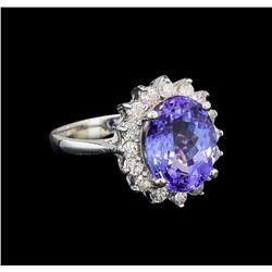 14KT White Gold 4.37 ctw Tanzanite and Diamond Ring