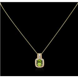 2.66 ctw Peridot and Diamond Pendant With Chain - 14KT Two-Tone Gold