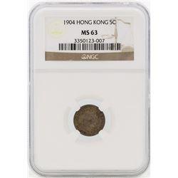 1904 Hong Kong 5 Cents Silver Coin NGC MS63