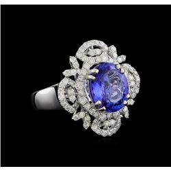 3.76 ctw Tanzanite and Diamond Ring - 14KT White Gold
