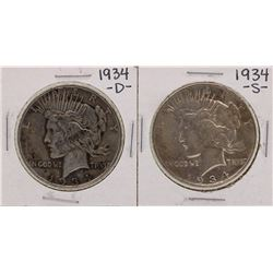 Lot of 1934-D & 1934-S $1 Peace Silver Dollar Coins