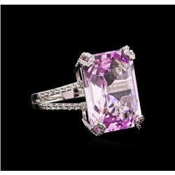 18.00 ctw Kunzite and Diamond Ring - 18KT White Gold