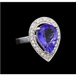 14KT White Gold 5.00 ctw Tanzanite and Diamond Ring