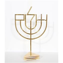 Yaacov Agam, Shalom Menorah (Tri-Base), Gold-Plated Metal Kinetic Sculpture