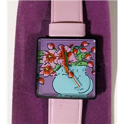 Peter Max, Watch - Blue Vase with Flowers, Wristwatch with Pink Leather Band