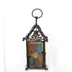 Lantern, Stained Glass Lantern with Iron Filigree