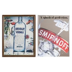 Lot of 2 Vodka Posters, Absolut Vodka, Smirnoff Poster