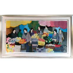 Itzchak Tarkay, The Flower Market, Serigraph